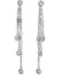 Effy - 14 Kt White Gold Diamond Drop Earrings - Lyst
