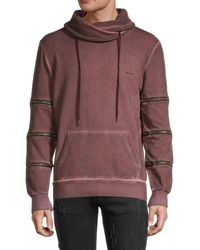 NANA JUDY Men's Underwood Regular-fit Sweater - Burgundy Black - Size Xs - Purple