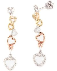 Effy Tri-tone Gold & Diamond Drop Heart Earrings - White