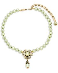 Heidi Daus - Faux-pearl Crystal Flower Necklace - Lyst