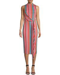 Alice + Olivia Delora Sleeveless Tie Waist Stripe Dress - Red