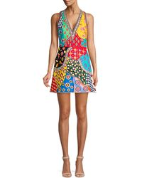 Alice + Olivia 'tennie' Mix Graphic Embroidered Patchwork Dress - Blue