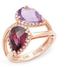 Bavna Diamond Bangle In 14k Rose Gold - Multicolour