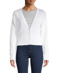 525 America Women's High Rib Cardigan - White - Size Xs