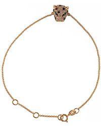 Effy Signature 14kt Rose Gold Diamond And Tsavorite Panther Bracelet - Metallic