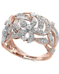 Effy - Diamond And 14k Rose Gold Flower Ring - Lyst