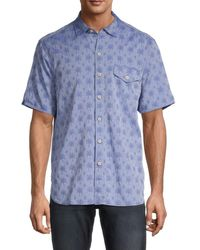 Tommy Bahama Men's Jacquard Palm Shirt - Galaxy Blue - Size S