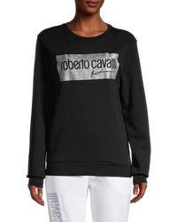 Roberto Cavalli Metallic Logo Sweatshirt - Black