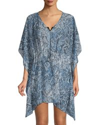 Calvin Klein Packable Snakeskin-print Caftan - Blue