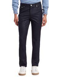 Brunello Cucinelli Flannel Five-pocket Trousers - Blue