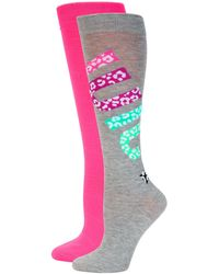 Juicy Couture 2-pack Leopard-print Logo Crew Socks - Gray