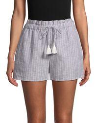 1.STATE Striped Linen & Cotton-blend Paperbag Shorts - Blue