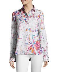 Robert Graham Women's Cityscape Embellished Cotton & Silk Shirt - Size M - Multicolour
