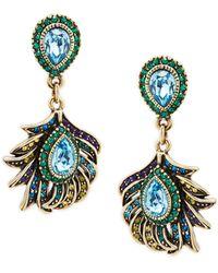 Heidi Daus Crystal Feather Drop Earrings - Multicolor