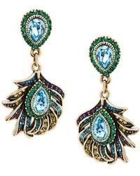 Heidi Daus Crystal Feather Drop Earrings - Multicolour