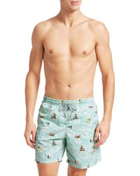 Saks Fifth Avenue Collection Hawaiian Surfer Swim Trunks - Blue