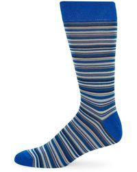 Saks Fifth Avenue Striped Crew Socks - Black