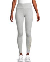 PUMA Logo Stretch-cotton Leggings - Grey