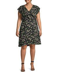 Estelle Women's Plus Floral Wrap Dress - Black - Size 1x (14-16)