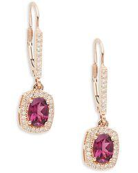 Effy 14k Rose Gold, Rhodolite & White Diamond Drop Earrings - Metallic