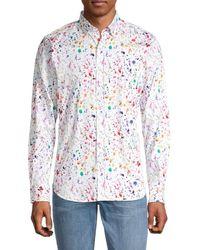 Robert Graham Rossington Tailored-fit Splatter-print Sport Shirt - White