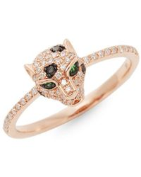 Effy - Diamond Emerald & 14k Rose Gold Leopard Head Ring - Lyst