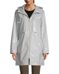 Jane Post Women's Iconic Faux Leather Hooded Parka - Light Gray - Size S