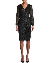 Adrianna Papell Beaded Sheath Dress - Black