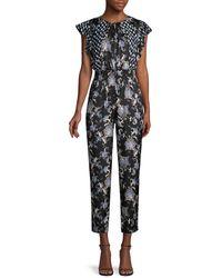 Rebecca Taylor Sleeveless Paisley Silk-blend Jumpsuit - Black