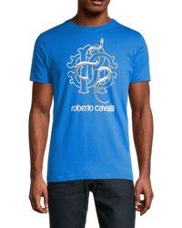 Roberto Cavalli Graphic Logo Cotton Tee - Blue