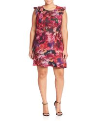 ABS By Allen Schwartz - Plus Floral Printed Dress - Lyst