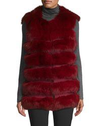La Fiorentina Dyed Fox Fur Bubble Vest - Multicolour