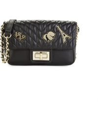 Karl Lagerfeld Agyness Faux Leather Crossbody Bag - Black