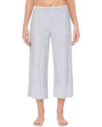 Donna Karan Striped Capri Pajama Pants - Black