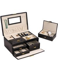 Bey-berk 2-level Leather Jewellery Box - Black