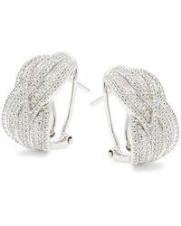 Effy Women's Sterling Silver & Diamond Hoop Earrings - Metallic