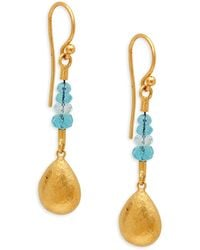 Gurhan Delicate Flurries 24k Yellow Gold, Apatite & Aquamarine Drop Earrings - Multicolour