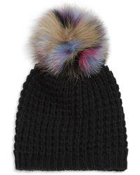 Kyi Kyi Fox Fur Pom-pom Beanie - Black