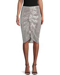 Endless Rose Sequin Ruffle-front Skirt - Metallic