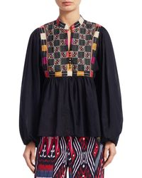 Figue Nora Cotton Embroidery Blouse - Black