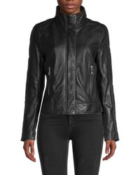Karl Lagerfeld Leather Moto Jacket - Black
