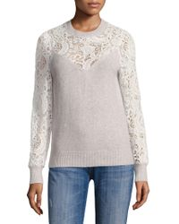 Rebecca Taylor - Wool Lace Mixed Pullover - Lyst