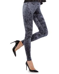 Memoi Crushed Velvet Leggings - Black