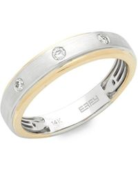 Effy - Diamond, 14k Yellow Gold And 14k White Gold Ring, 0.15 Tcw - Lyst