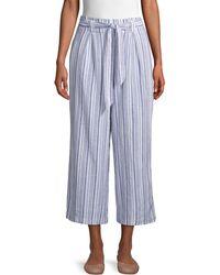 Max Studio Striped Linen & Cotton Blend Wide-leg Trousers - Blue