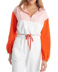 Juicy Couture Colorblock Cropped Popover Jacket - Red