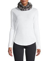 Jocelyn 2-piece Rabbit Fur & Wool-blend Neck Wrap & Fingerless Mittens Set - Grey
