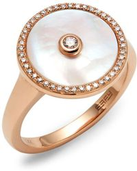 Effy 14k Rose Gold, Diamond & Mother Of Pearl Ring - Metallic