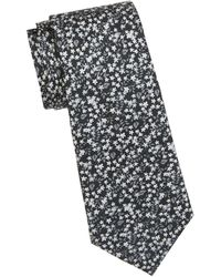 Saks Fifth Avenue Floral Silk Tie - Black