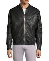 HUGO Larrson Slim-fit Leather Bomber Jacket - Black